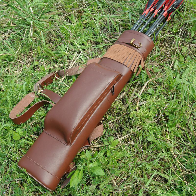 Large Back Cowhide Leather Archery Quiver Arrow Holder for Compound Recurve Bow Arrow Shooting Hunting Arrow Quiver dmar archery quiver recurve bow bag arrow holder black high class portable hunting achery accessories