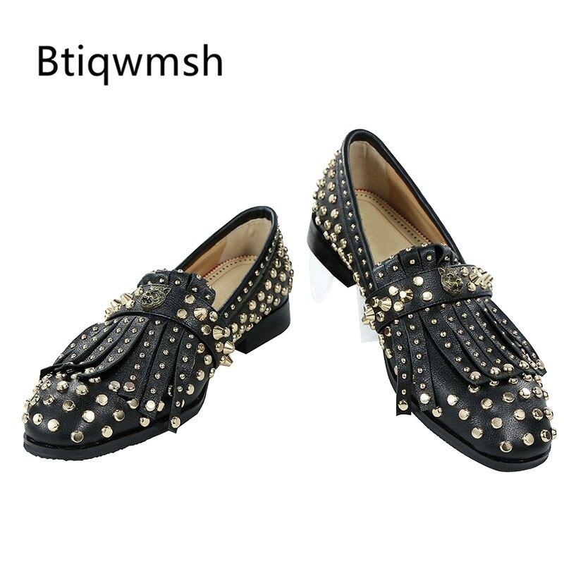 2019 zapatos de cuero Negro hombres punta redonda remache borla plana mocasines zapatos para hombre Zapatos de fiesta-in Zapatos formales from zapatos    1