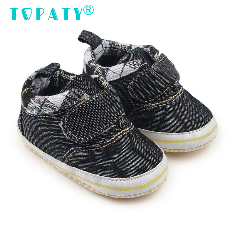 High Quality Denim Sneakers Brand New Baby Boys Soft Soled Plaid Toddler Shoes Infant Non-slip First Walkers Sapatos De Bebe