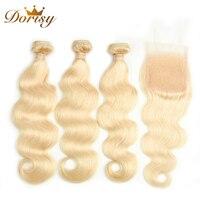 Dorisy Hair 4 Pcs Brazilian Hair Weave Bundles Remy Body Wave 100% Human Hair Bundles With Closure 613 Blonde Hair Extensions