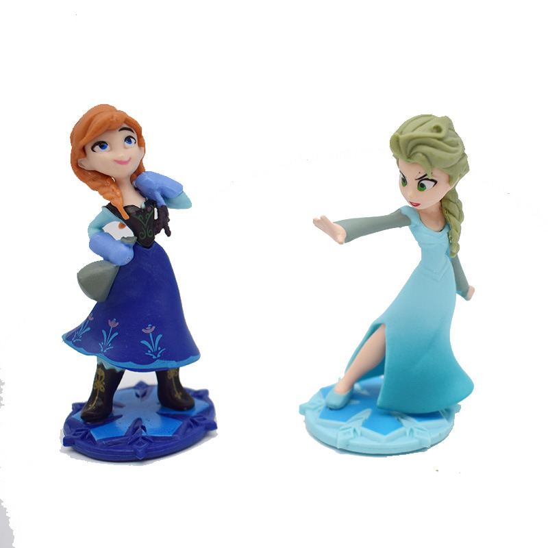 9cm Mini Elsa And Anna Doll Cartoon Figure Boneca For Cake Decoration Display Girls Birthday Gift G0377