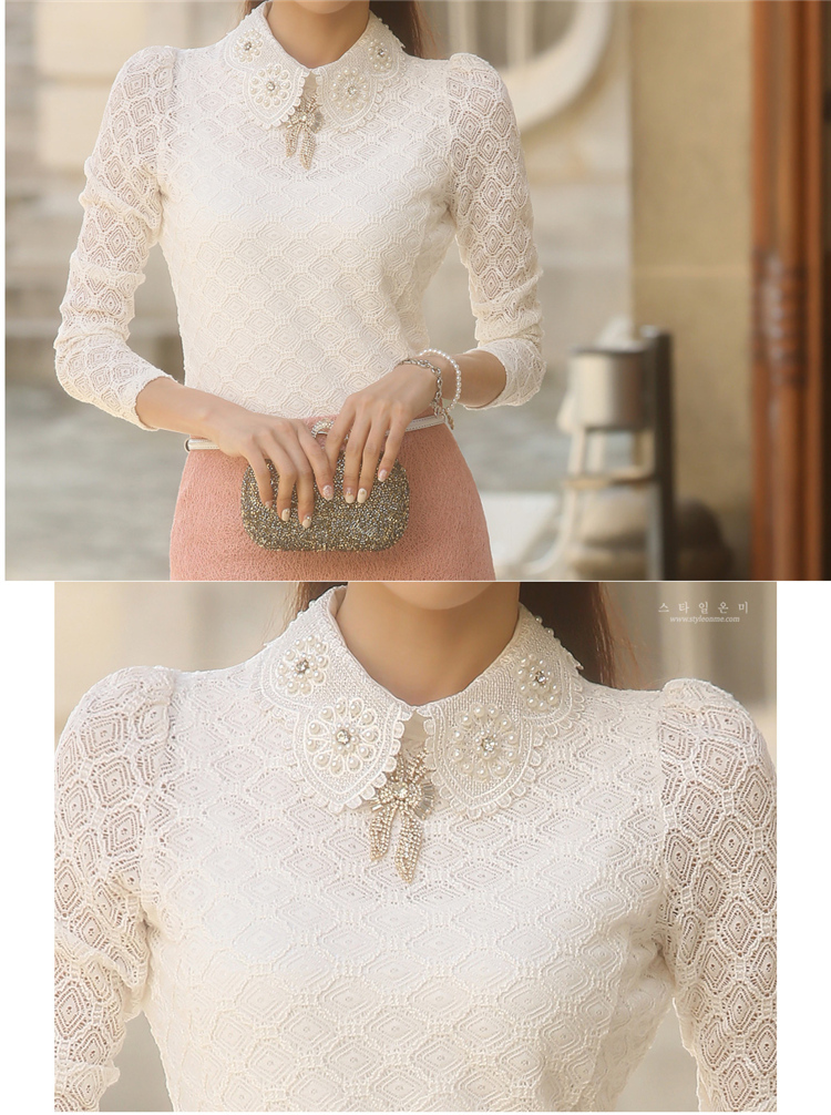 YEYELANA Women Lace Blouses 2018 Spring Summer New Elegant Femininas Long Sleeve chiffon Blouse Korean Style Women Shirt A001 22