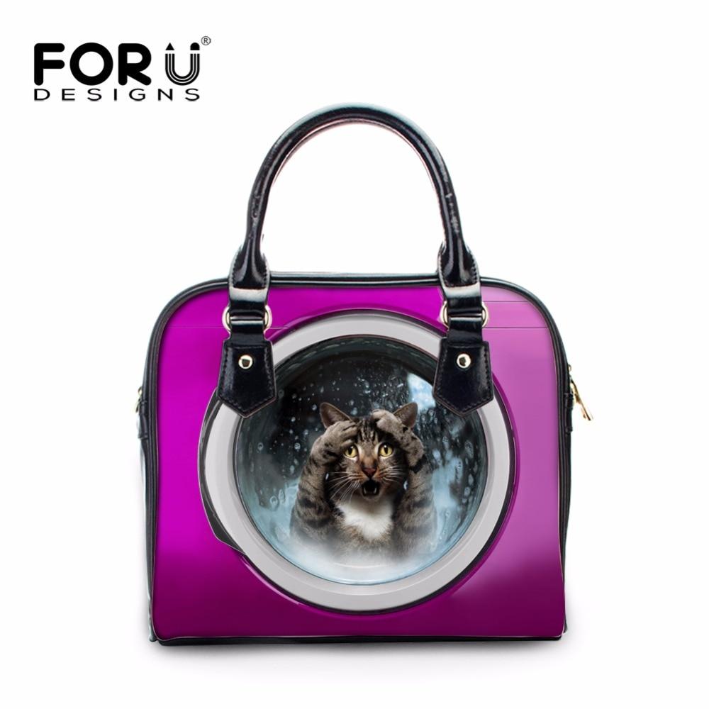 FORUDESIGNS Women Luxury Handbags 3D Cute Pet Cat Dog Printing Woman PU Messenger Bags Leather Crossbody Bags for Ladies Bolsa