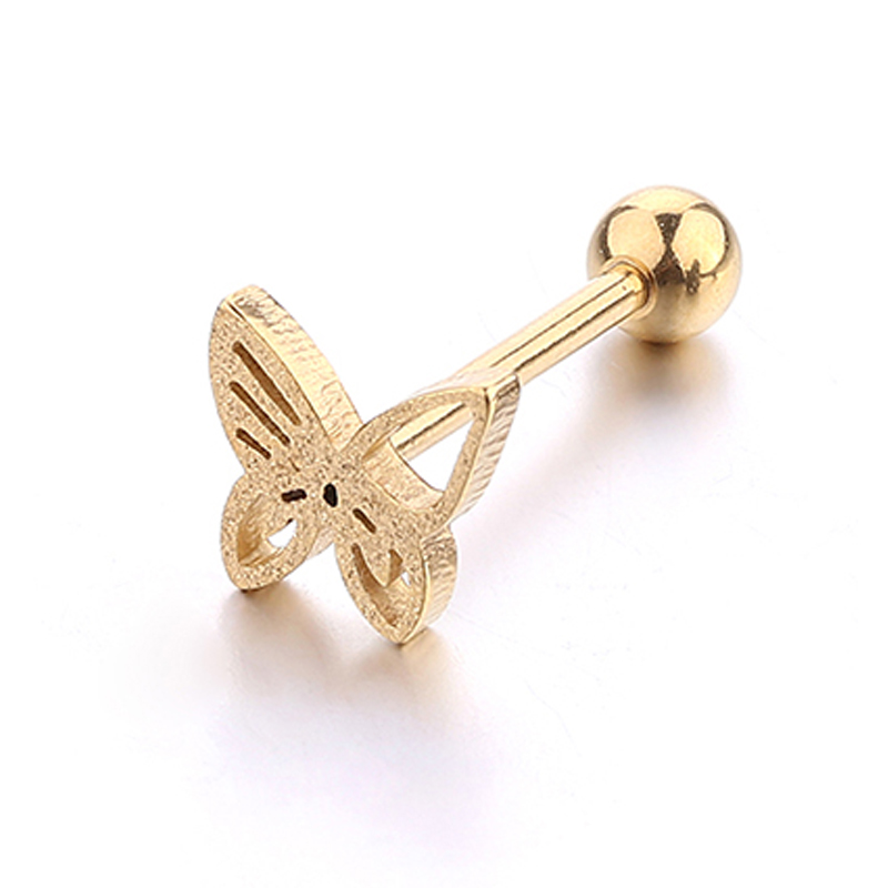 Body jewelry 14G tongue ring stud sandy butterfly stainless steel piercing jewelry for women girls 1pc free shipping fashion