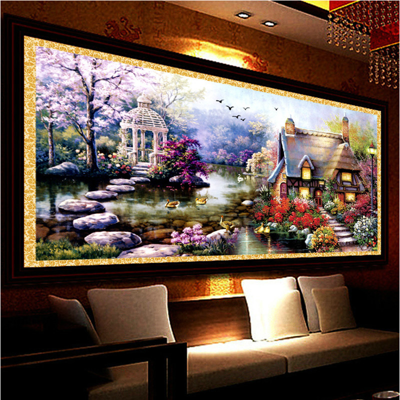 New Hot DIY 5D Diamond Mosaic Landscapes Garden lodge Full Diamond Painting Cross Stitch Kits Diamond Embroidery Home Decoration