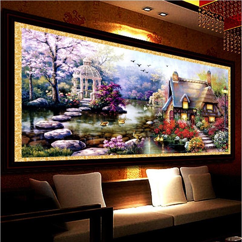 New Hot DIY 5D Diamond Mosaic Landscapes Garden lodge Full Diamond Painting Cross Stitch Kits Diamond Embroidery Home Decoration