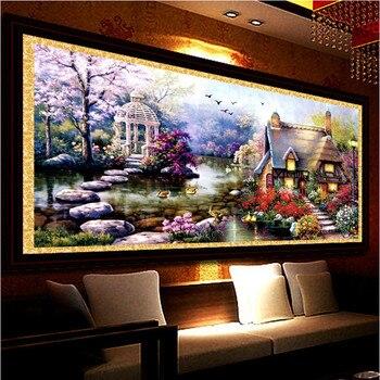 New hot diy 5d diamante mosaico paesaggi garden lodge pieno disegni e schemi per puntocroce kit di diamante del ricamo decorazione della casa