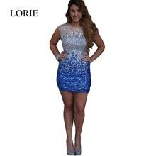 2016 Sexy Graduation Dresses Oansatz Luxus Kristalle Perlen Robe De Cocktail Sommerkleider Für Jugendliche Royal Blue Kurze Abschlussball Kleider