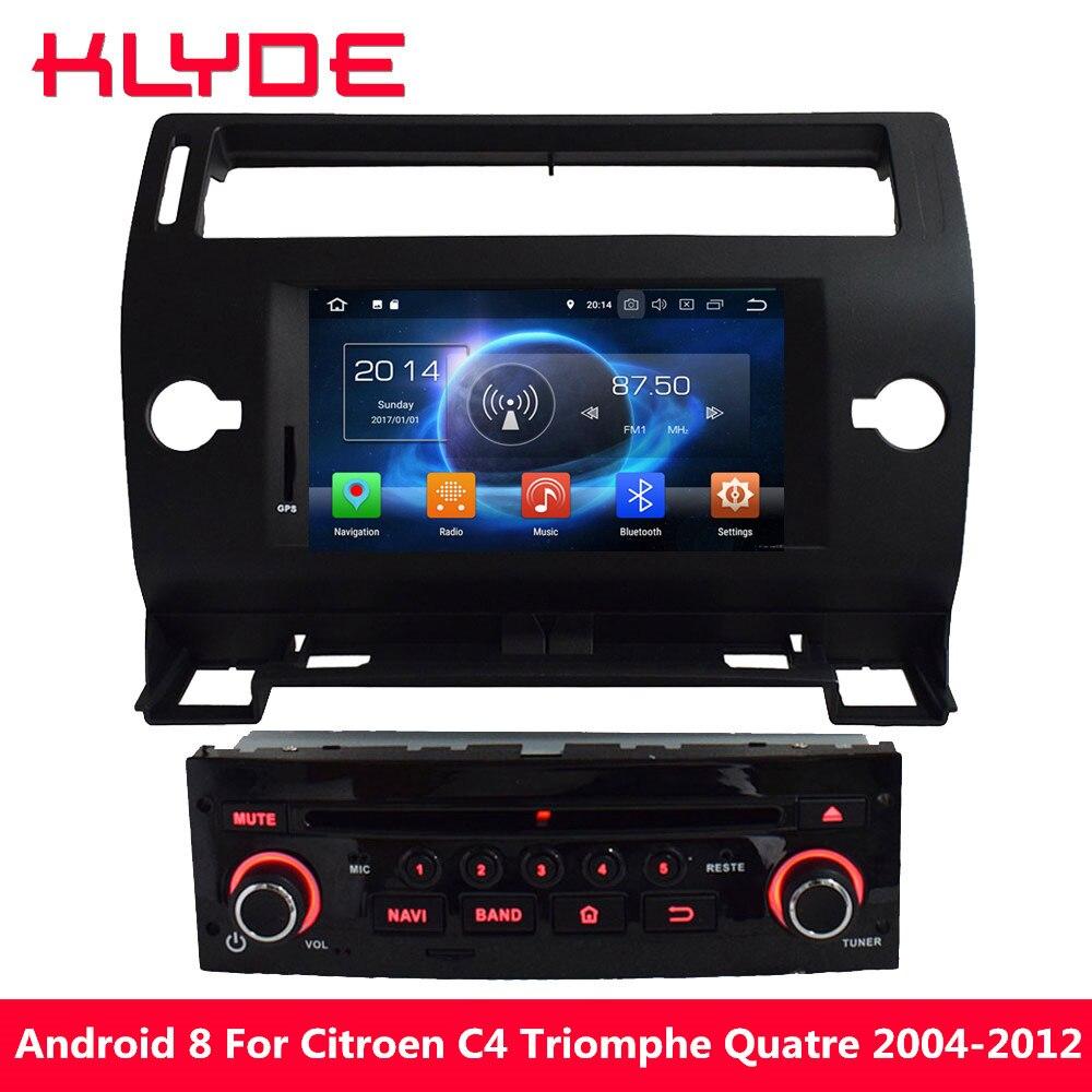 KLYDE Octa Core PX5 Android 8.0 4GB RAM 32GB ROM Car DVD Player For Citroen C4 Quatre Triumph 2004 2005 2006 2007 2008 2009-2012 ковры seintex citroen c4 2004 2012 c4 2 2012