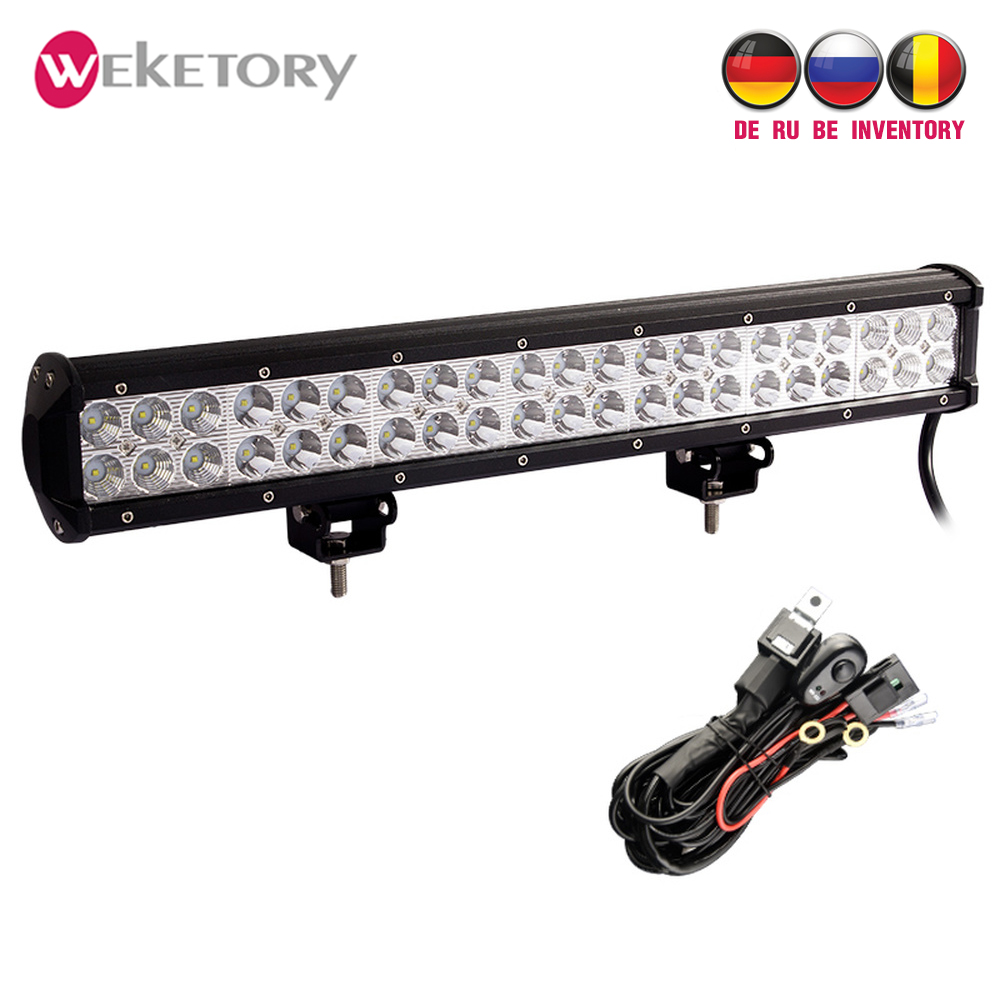 20 inch 126w led work light bar for tractor boat offroad 4wd 4x4 truck suv atv spot flood combo beam 12v with wiring kit [ 1000 x 1000 Pixel ]