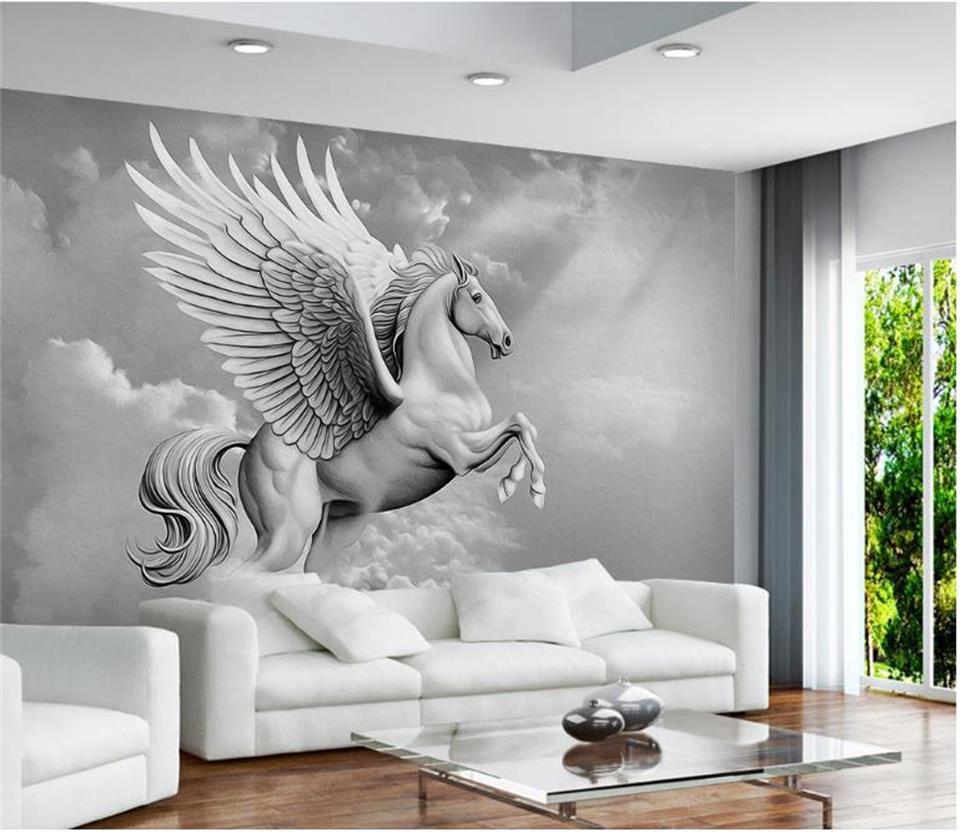 US $14 4 OFF Bunga 3d Wallpaper Foto Wallpaper Kustom Mural Terbang Kuda Laut Langit Dekorasi Lukisan 3d Dinding Mural Wallpaper Untuk Dinding