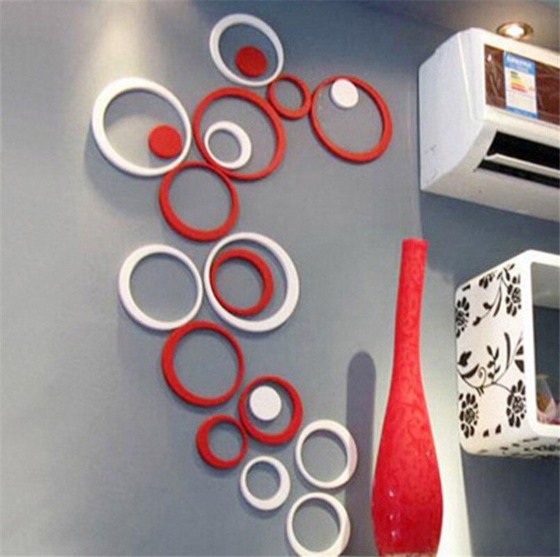 24Pcs cercle acrylique plastique miroir mur déco autocollants r