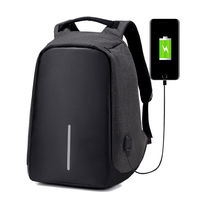 Fashion Charging Hole Men Soft PU Leather Casual Laptop Backpack Europe Anti Theft Waterproof Weekender Travel