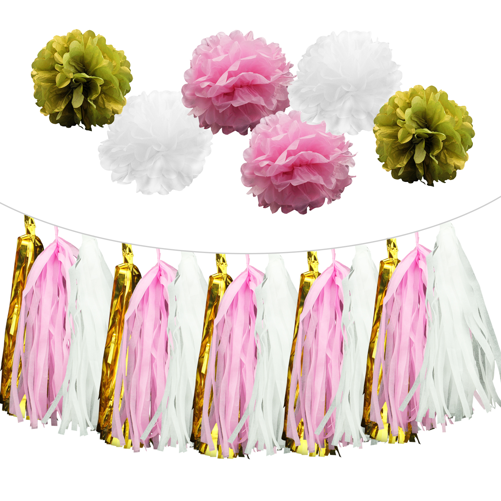 1 Set Diy Birthday Decoration Paper Tissue Pompoms Flower Boy Girl Baby  Shower Kids Favors Wedding