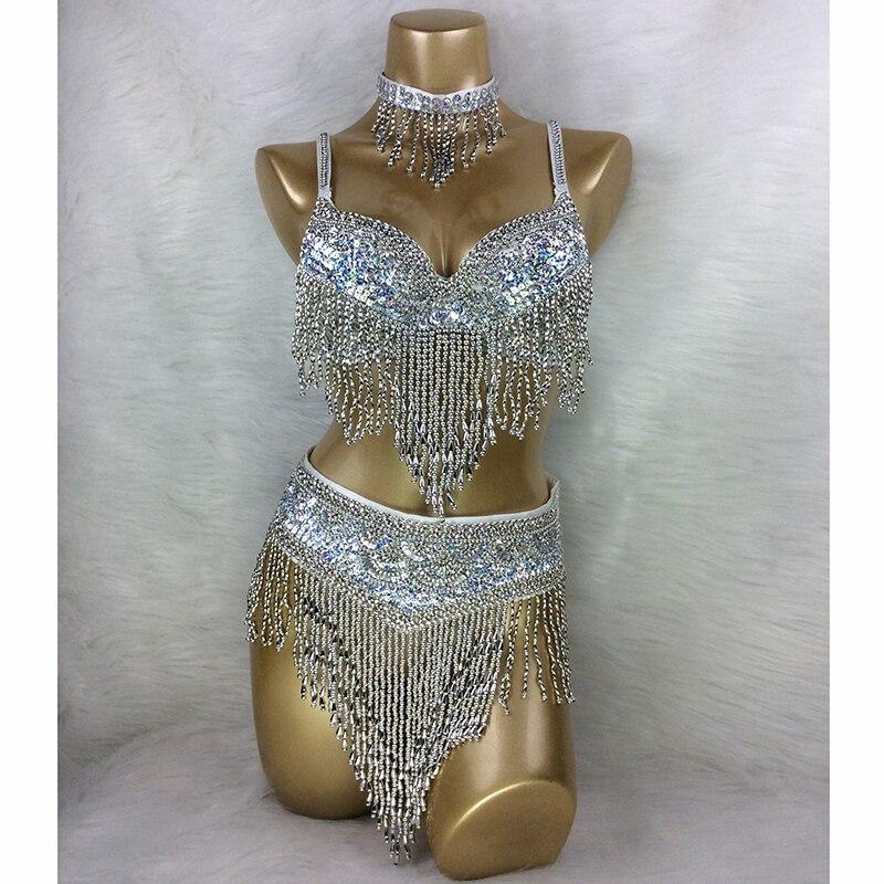 Wholesale Belly Dance Costume 3pcs/set(BRA+BELT+NECKLACE) GOLD&SILVER White 4 COLORS #TF201,34D/DD,36D/DD,38/D/DD,40B/C/D,42D/DD
