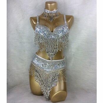 wholesale belly dance costume 3pcs/set(BRA+BELT+NECKLACE) GOLD&SILVER white 4 COLORS #TF201,34D/DD,36D/DD,38/D/DD,40B/C/D,42D/DD - discount item  5% OFF Stage & Dance Wear