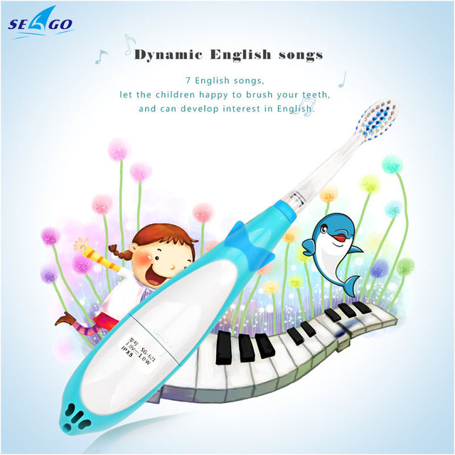 Cartoon Dolphin Children kids Music Sonic Electric Toothbrush Waterproof LED light Battery Operated+Two Replaceable Brush Heads