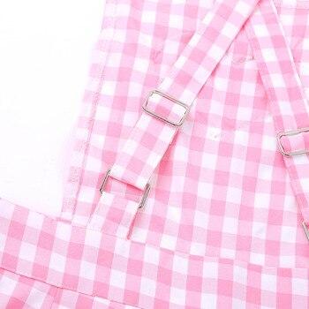 iiniim Adult Womens Cute ABDL Clothing Baby Patch Criss-cross Back Gingham Print Babydoll Short Overalls Shortalls Jumpsuits 5