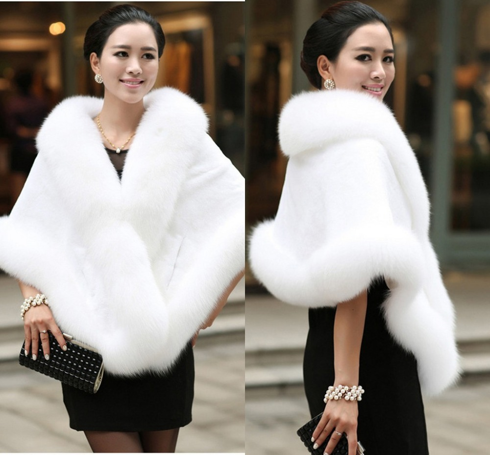 Big Bridal Faux Fur Wraps Winter Wedding Coat Warm shawls Outerwear White Black Blue Shrug Women Jacket Prom size 165*55 cm