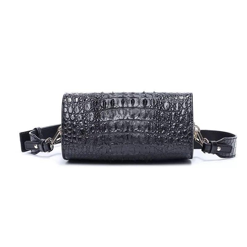 Fantaisie véritable peau de Crocodile femmes Mini sac à main dame large bandoulière boîte sac en cuir véritable Alligator femme bleu Messenger sac - 2