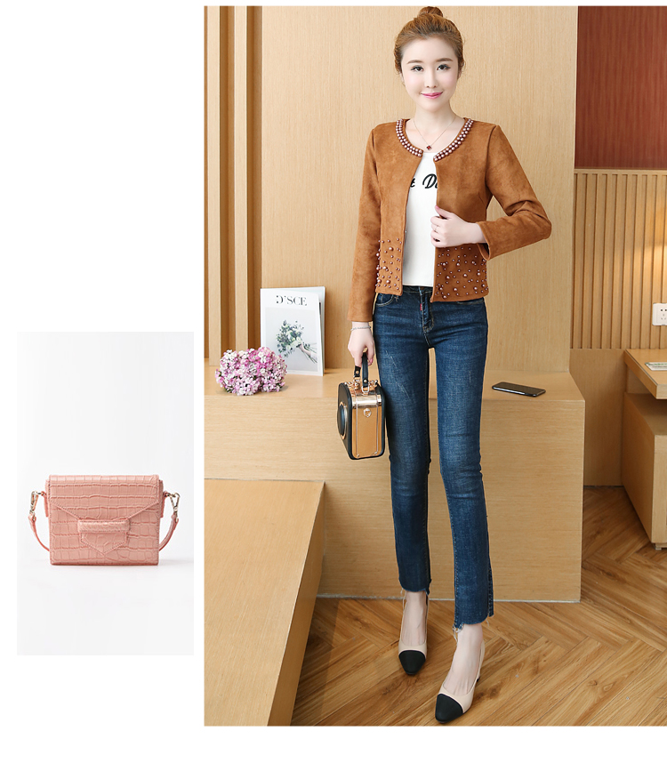 chaquetas mujer 2019 long sleeve autumn jacket women clothes plus size 4XL pink elegant beading outwear women jacket coat A295
