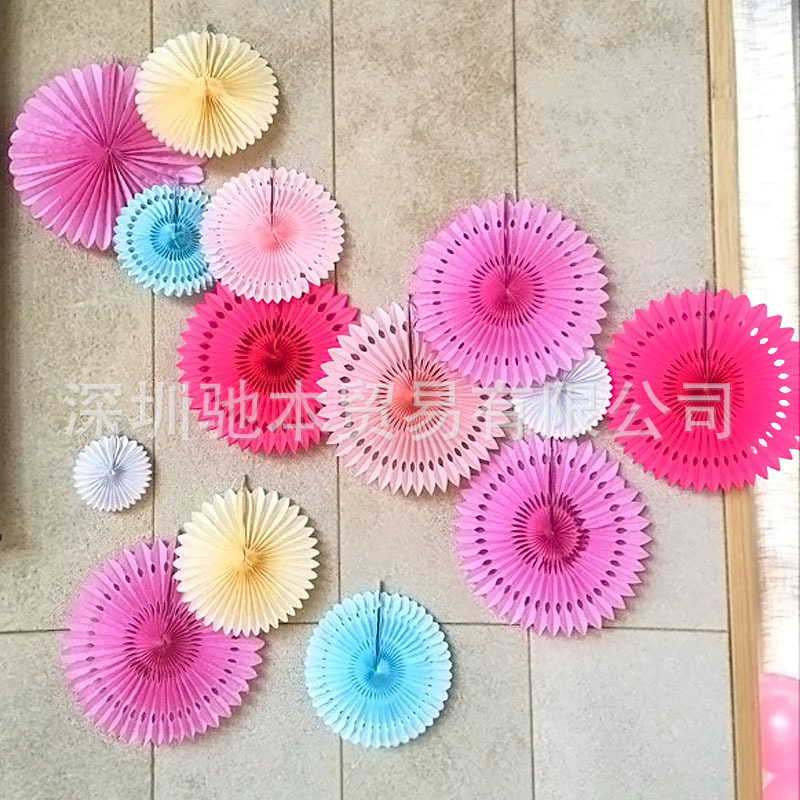 Us 1 27 15 Off Party Decorations Supplies Creative Hanging Paper Fan Wedding Birthday Party Window Decorative Folding Garland Fan In Party Backdrops