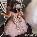 Nueva lindo de mitad de la pantorrilla de encaje rosa pura detrás del niño niña de las flores cabritos del vestido de la belleza del vestido de noche de baile vestidos de bola fiesta de cumpleaños del bebé vestidos