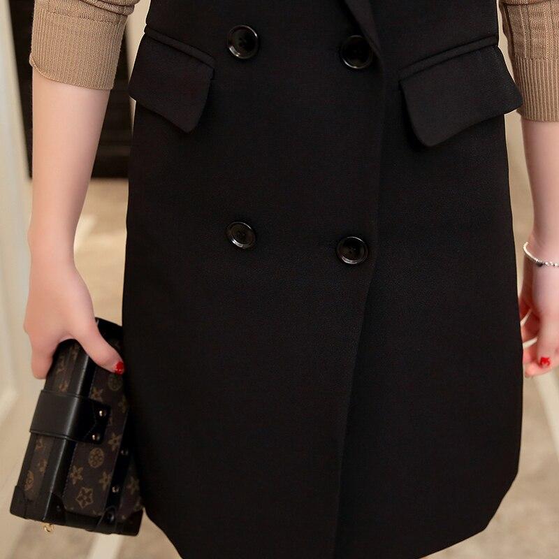 Talla Doble Prendas Vestir Primavera Para Mangas Sin Femenina 5xl Chaqueta Invierno Cálido Pecho Negro De Chaleco Grande Largo Ajustado Exteriores Grueso Mujer AUwqZqgEx