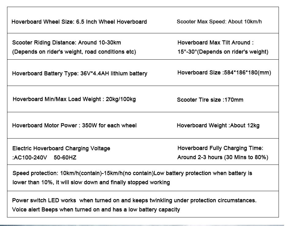 6.5 Inch Hoverboard Two wheel Hoverboard self balancing Electric ...