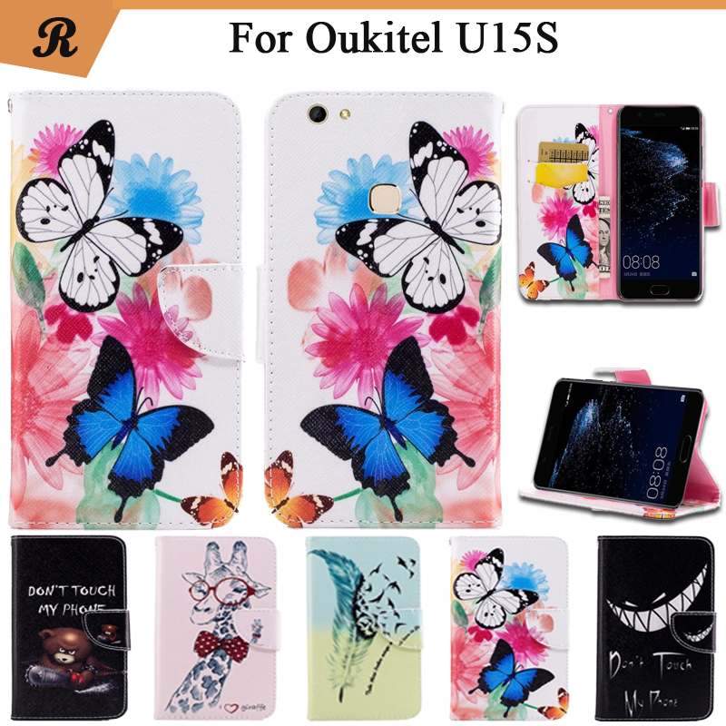 Painted Wallet Flip Case For Oukitel U15S High Quality PU leather Card Slot Stand bag Cover fundas with Strap