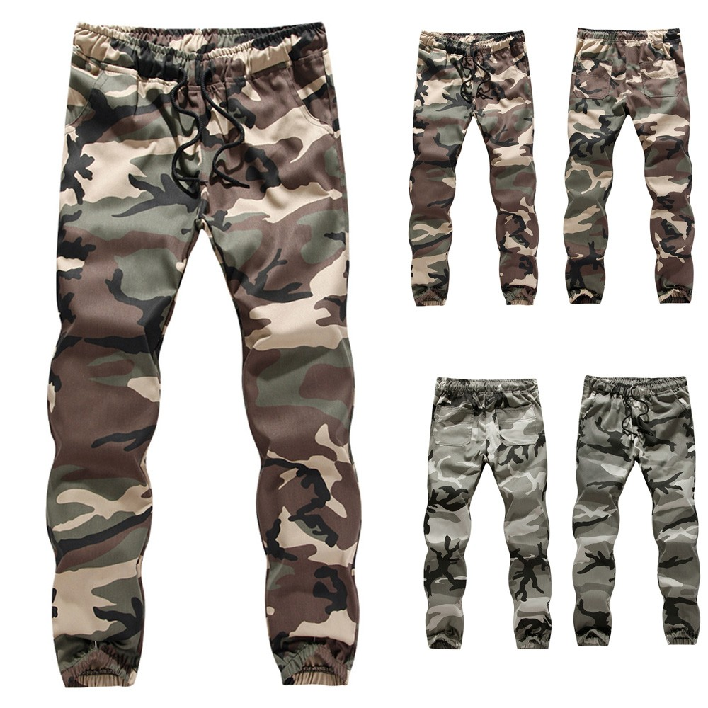 Casual Pants Trousers Stretch Men's Camouflage Overalls Large-Size