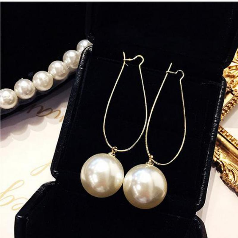 Korea Simple Net Red Wild Crystal Imitation Pearl Earrings Jewelry Long Temperament High Quality Earrings For Women Brincos