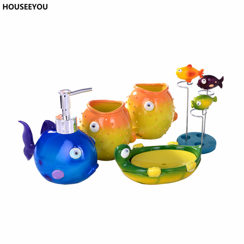 Online Shop Childlike Colorful Bathroom Accessories Sets Soap Finding Nemo  Lotion Dispenser Tray Creative Box Storage Organizer 5Pcs/set | Aliexpress  Mobile