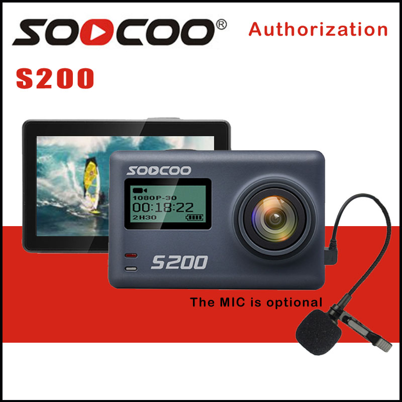 SOOCOO S200 Action Sport Caméra Ultra HD 4 K 20MP NTK96660 Puce Cam IMX078 Capteur WiFi Gyro Contrôle Vocal Micro GPS Tactile Écran LCD