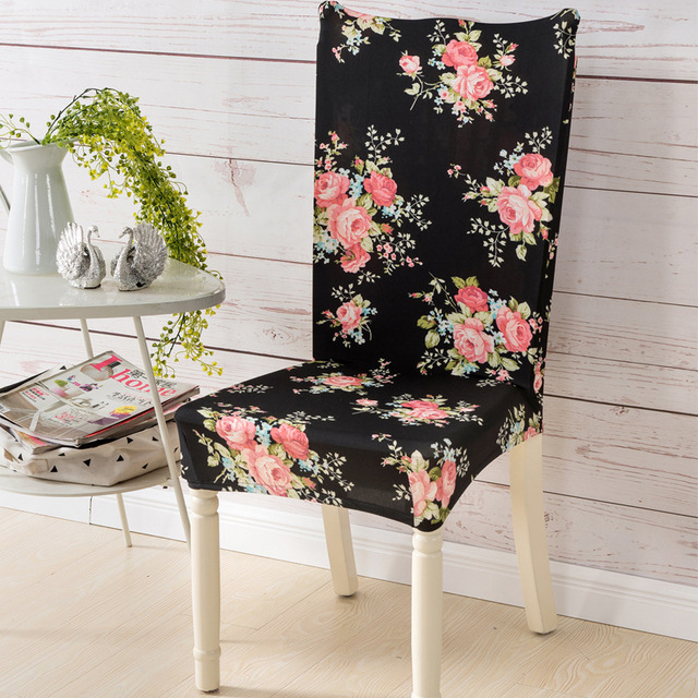 1 Pc Spandex Elastic Simple Style Beautiful Flower Pattern Chair Covers  Dustproof Cozy Stretch Modern Party
