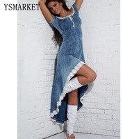 Women's Jean Dresses Long Hi Low Hot Sale Intense Intuition Denim Blue Dress Sleeveless Summer Maxi Clothes A60562