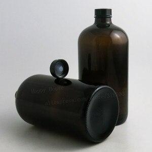 Image 4 - 2PCS x 1000ML 33OZ Big Dark Amber Borosilicate Glass Standard Boston Round Bottle with Black Phenolic Closure PE Cone Lined Cap