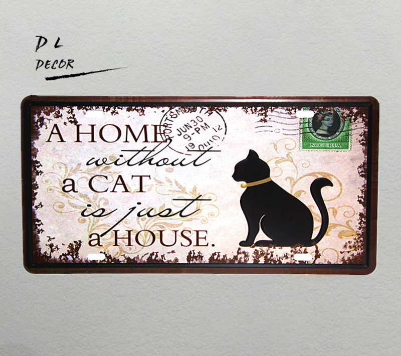DL-A HOME A CAT A HOUSE  Vintage License plate metal Sign shabby chic home decoration accessories