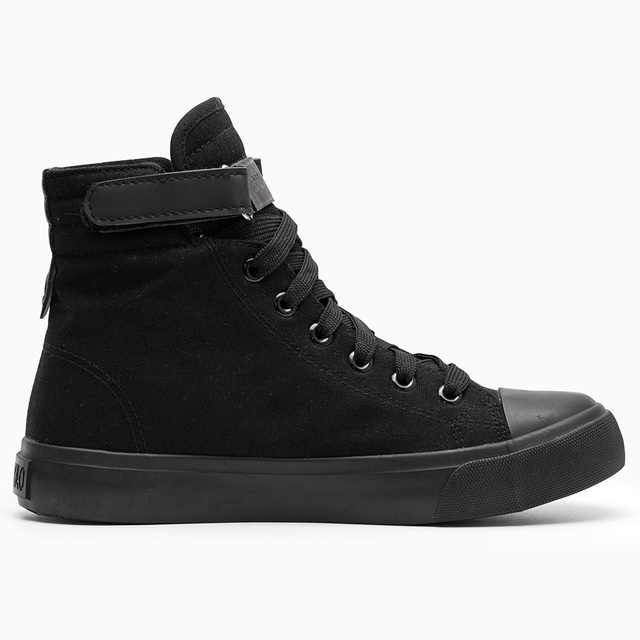 Women canvas shoes for 2017 spring and autumn female High-top pure black classic vulcanize shoes footwear size 35-40