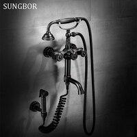 Bathroom Vintage Nickel Brushed Black Brass Simple Shower Set Wall Mounted Bath Shower Mixer Tap Phone Ceramic Handheld HS 5586H