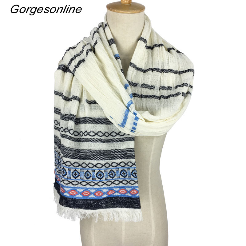 2018 New High Quality Cotton Jacquard   Wrap   Plaid Unisex Yarn Dyed Weaving Pashmina Shawl Casual Men   Scarf