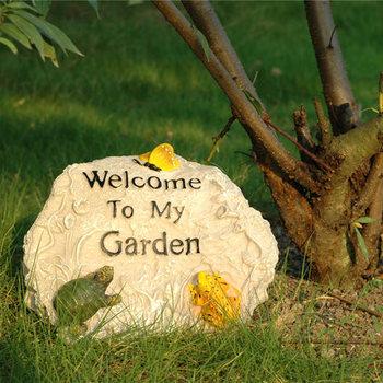 Ogród Rockery znak witający gości dom ogród ogród kreatywna artystyczna dekoracja blat dekoracja darmowa wysyłka tanie i dobre opinie Żywica hybp-1