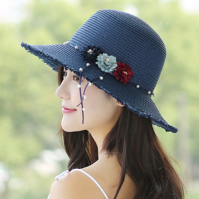8b7ad3f77e9c4 Fashion Female Summer Straw Sun Hat for Women Pink Outdoor Beach Curl Brim  Girls Floppy Fedora with Bow Uv Protect Caps B-8102