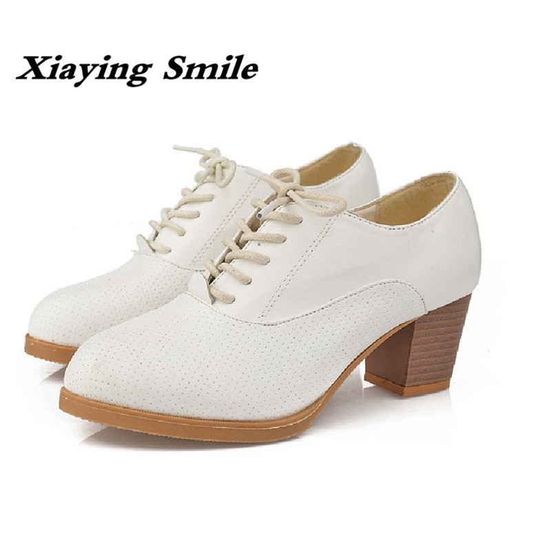 Xiaying Smile New Spring Autumn Women Shoes British Style Retro Casual Pantshoes Lace Shoes Square Heel Pointed Toe Rubber Pumps xiaying smile woman flats women brogue shoes loafers spring summer casual slip on round toe rubber new black white women shoes