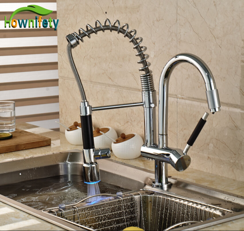 LED Colors Chrome Kitchen Sink Faucet Hot And Cold Mixer Tap Single Handle One Hole new arrival tall bathroom sink faucet mixer cold and hot kitchen tap single hole water tap kitchen faucet torneira cozinha
