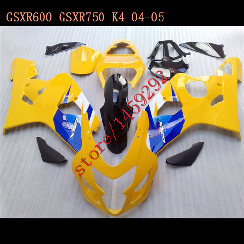 Yellow/Blue for GSXR600 GSXR750 K4 <font><b>04</b></font> 05 2004 2005 <font><b>Fairing</b></font> <font><b>Kit</b></font> GSXR600 750 <font><b>04</b></font>-05 mold <font><b>GSXR</b></font> <font><b>600</b></font> 750 GSXR600 750 image