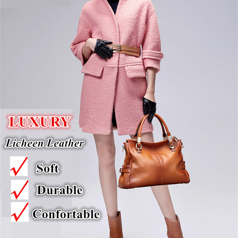 Burminsa 100% Genuine Leather Handbags Women Retro Big Brown Shoulder Bags Ladies Hobo Messenger Bags Winter 2018 New Year Gift-in Shoulder Bags from Luggage & Bags    2