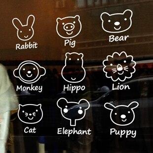 Free shipping Pet shop Glass <font><b>stickers</b></font> cartoon animal set child real decoration wall <font><b>stickers</b></font> door wall decals