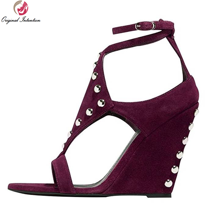 ФОТО Original Intention High-quality Women Sandals Open Toe Wedges Sandals Elegant Blue Green Wine Red Shoes Woman Plus Size 4-15