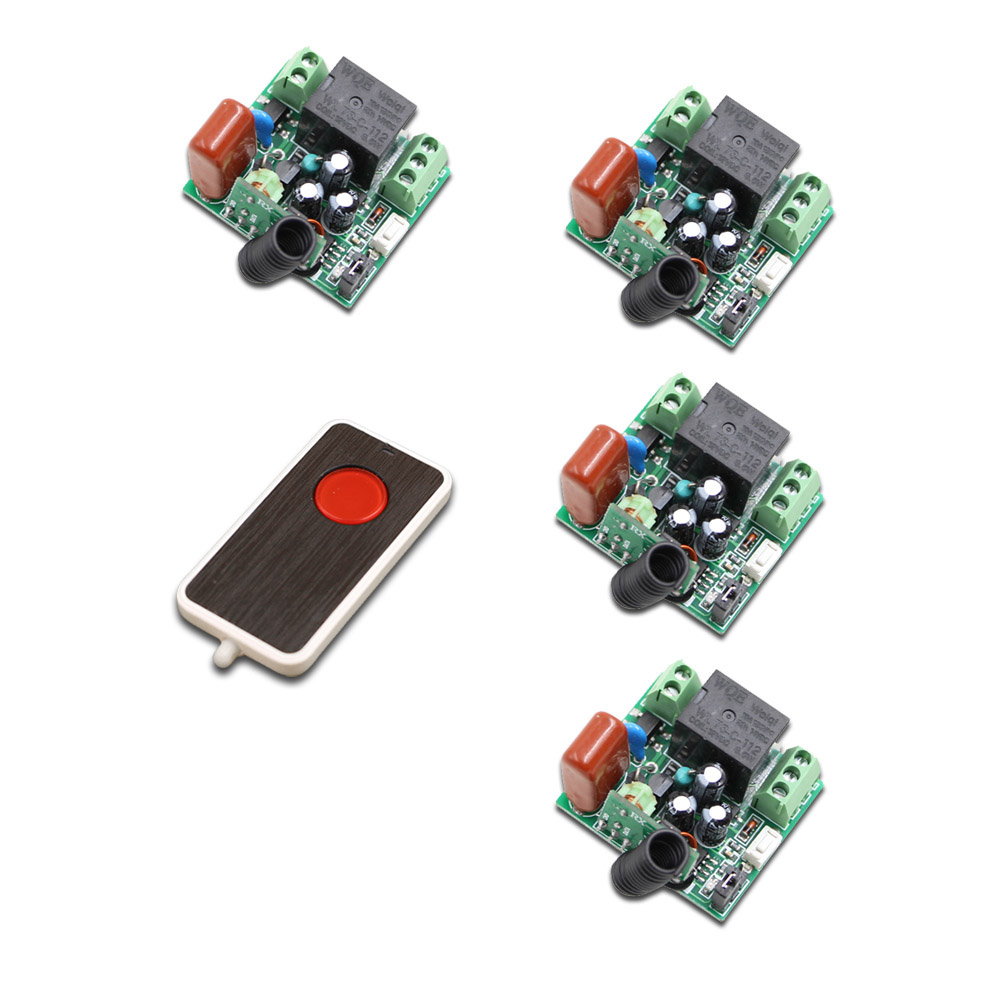 Hot Sales AC 220V 1CH 10A Wireless Remote Control Switch 4 Receiver & Transmitter 315/433 MHZ Family Smart Remote Control Switch hot sales dc 12v 1ch 10a 4 receiver